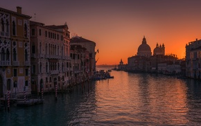 landscape, sea, architecture, water, Venice, sunrise