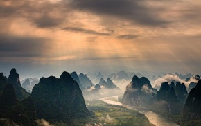 China, forest, landscape, nature, clouds, mist