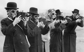 camera, gas masks, monochrome