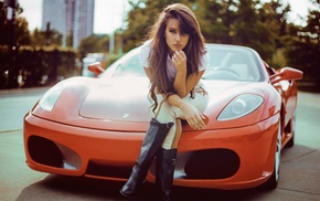 long hair, girl outdoors, auburn hair, Ferrari, leather boots, girl with cars