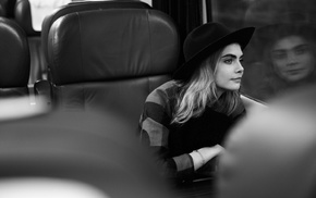 girl, blonde, Cara Delevingne, actress, monochrome, model