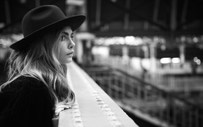 blonde, actress, Cara Delevingne, model, monochrome