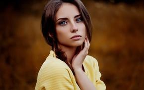 girl outdoors, girl, brunette, blue eyes, Ann Nevreva, depth of field