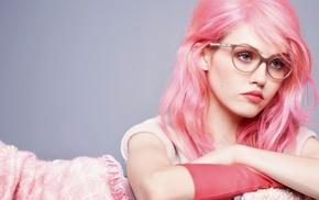 girl, pink hair, blue eyes, glasses, face, girl with glasses
