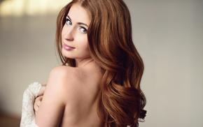 bare shoulders, brunette, face, portrait, redhead, girl