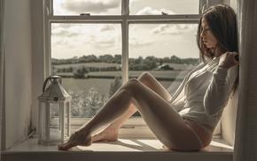 sitting, window, model, underwear, girl, brunette