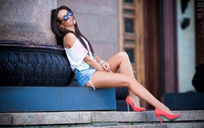 high heels, model, red heels, girl with glasses, jean shorts, smiling
