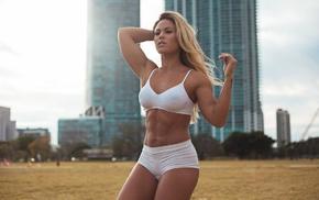 fitness model, girl, Tamra D, shorts, armpits, blonde