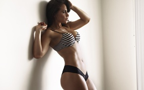 armpits, girl, flat belly, model, bikini, walls