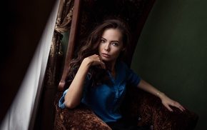 painted nails, long hair, girl, blue eyes, brunette, Maxim Guselnikov