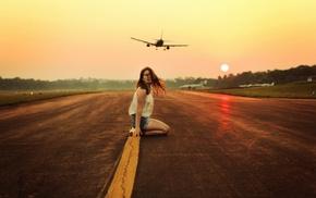kneeling, model, airplane, sunset, girl