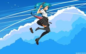 anime girls, thigh, highs, school uniform, Vocaloid, Hatsune Miku