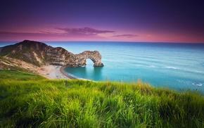 landscape, sunset, grass, nature, hill, sea