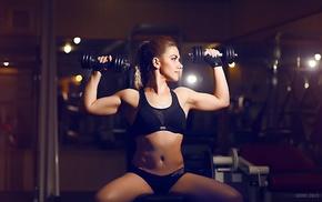 dumbbells, fitness model, sitting, girl