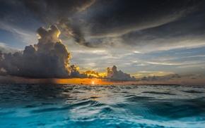 water, sunset, horizon, nature, tropical, landscape