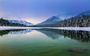 mountain, Jasper National Park, winter, lake, water, Canada
