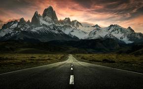 road, snowy peak, nature, sunrise, clouds, mountain