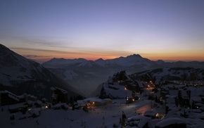 town, landscape, winter, lights, mountain, evening