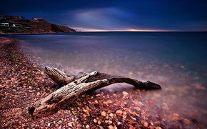 driftwood, sea, log, wood, stones, pebbles