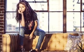 brunette, Selena Gomez, hand on face, girl, jeans, long hair