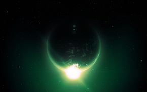 glowing, green, planet, stars, space art