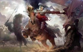 spear, knight, fantasy art