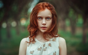 blue eyes, girl outdoors, face, redhead, girl, curly hair