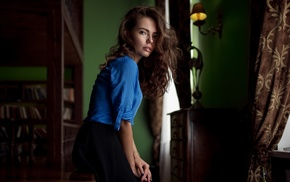 shirt, portrait, face, skirt, Maxim Guselnikov, blue eyes