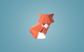 low poly, blue background, triangle, digital art, geometry, animals