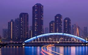architecture, long exposure, reflection, light trails, street light, lights