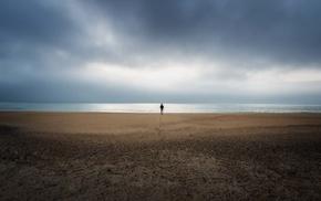 minimalism, footprints, landscape, horizon, coast, sea