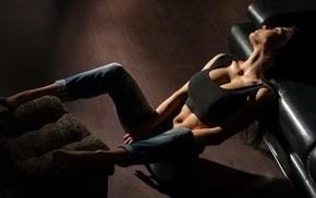 belly, Marina Shimkovich, jeans, abs, closed eyes, tank top