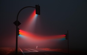 road, red, blue, traffic lights, lights, mist