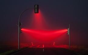 traffic lights, road, red, lights, blue