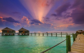 beach, sunset, water, resort, sun rays, Maldives