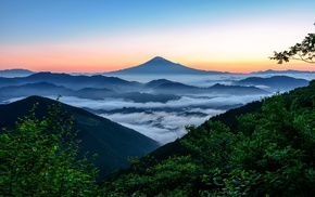 mountain, sunrise, Japan, landscape, mist, forest