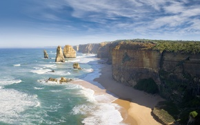 nature, coast, beach, cliff, Great Ocean Road, Australia