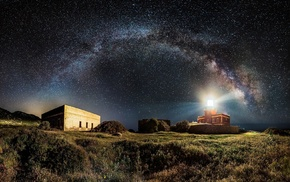 universe, lighthouse, grass, nature, shrubs, long exposure