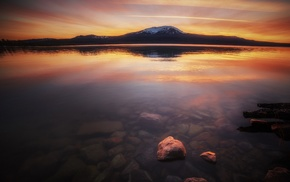 snowy peak, landscape, water, calm, lake, mountain