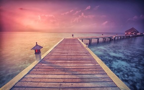 tropical, landscape, sun rays, walkway, nature, clouds