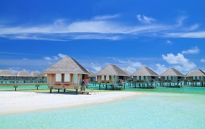 bungalow, Maldives, beach, Vacations, tropical, resort