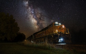 Milky Way, grass, diesel locomotives, trees, starry night, landscape