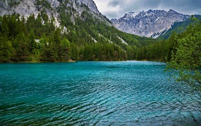 turquoise, green, forest, landscape, summer, lake
