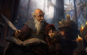 illustration, fantasy art, Deckard Cain, Leah, Diablo
