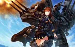 Kantai Collection, long hair, solo, machine gun, uniform, redhead