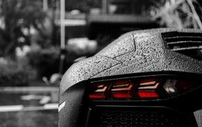 Lamborghini Aventador, rain, bokeh, selective coloring, water drops, Lamborghini