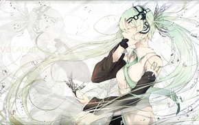 water drops, green hair, headphones, Vocaloid, butterfly, Hatsune Miku