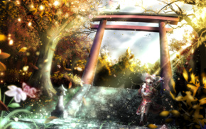 Touhou, nature, trees, looking up, open mouth, depth of field