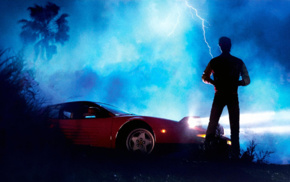 Kavinsky, Ferrari, album covers, lightning, music, Ferrari Testarossa