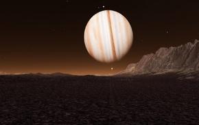 rock, space, CGI, stars, Jupiter, digital art